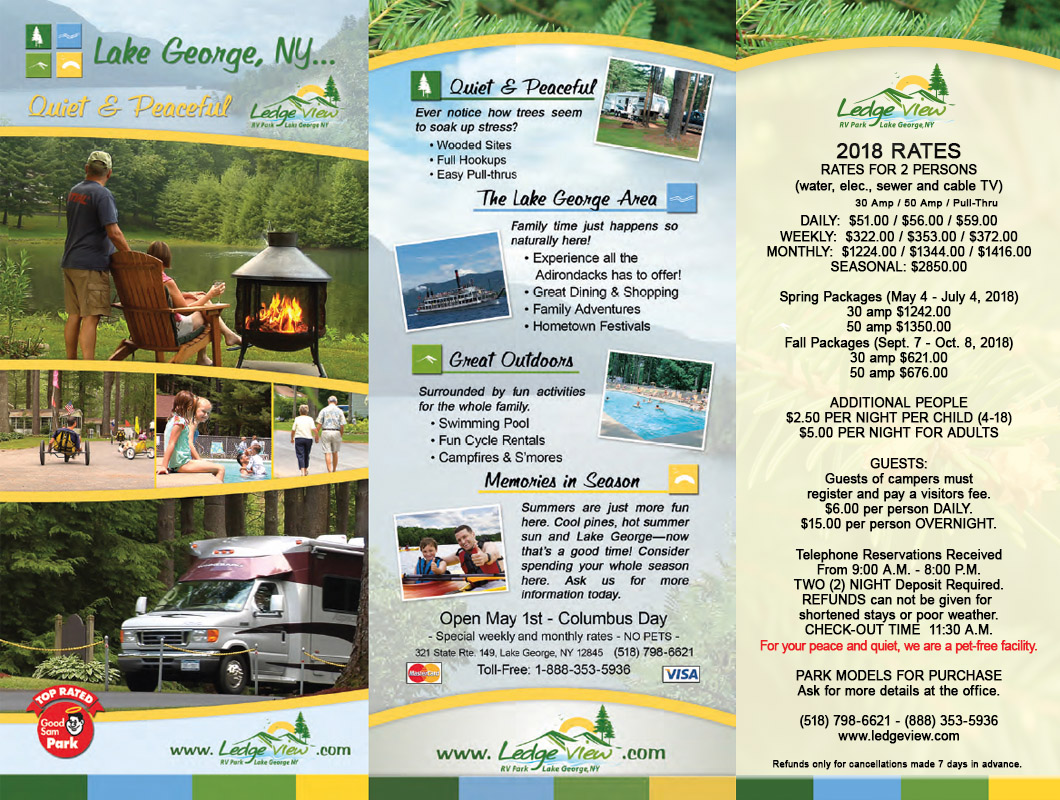 lake george rv campground brochure ledgeview rv park