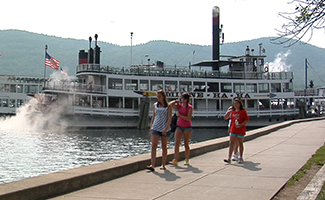The Minne-Ha-Ha Steamboat docked on Lake George
